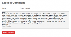 Post the HTML code into your comment.